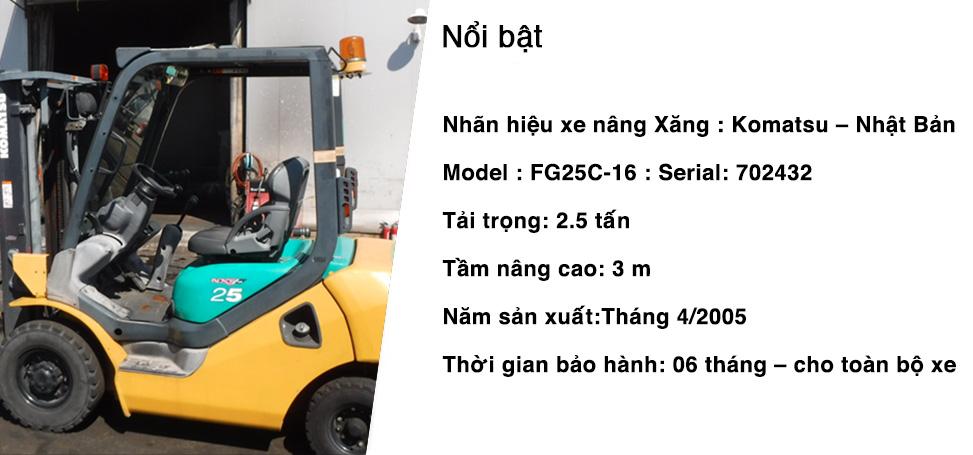 Bán xe nâng xăng KMT_FG25 nhập khẩu tại Nhật